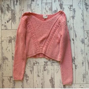 LA Hearts pink cropped sweater lightweight medium